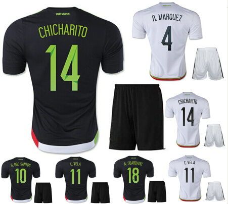 d8d90c8268d CHICHARITO Mexico Jersey kits 15/16 Mexico Soccer Black White Home Away  2016 National Team Mexico Camisetas Football Shirt