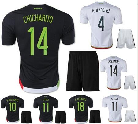 7f03076dc68f3a CHICHARITO Mexico Jersey kits 15/16 Mexico Soccer Black White Home Away  2016 National Team Mexico Camisetas Football Shirt