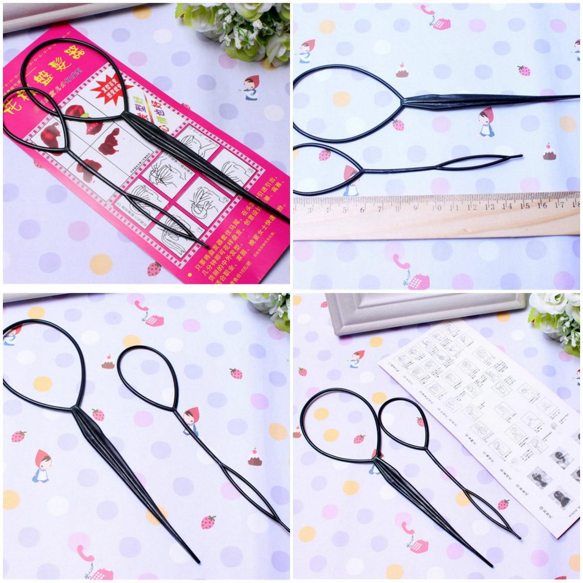 2Pcs Plastic Loop Styling ToolsBlack Ponytail Creator Tail Clip Hair Braid Maker Styling Tool Fashion Salon