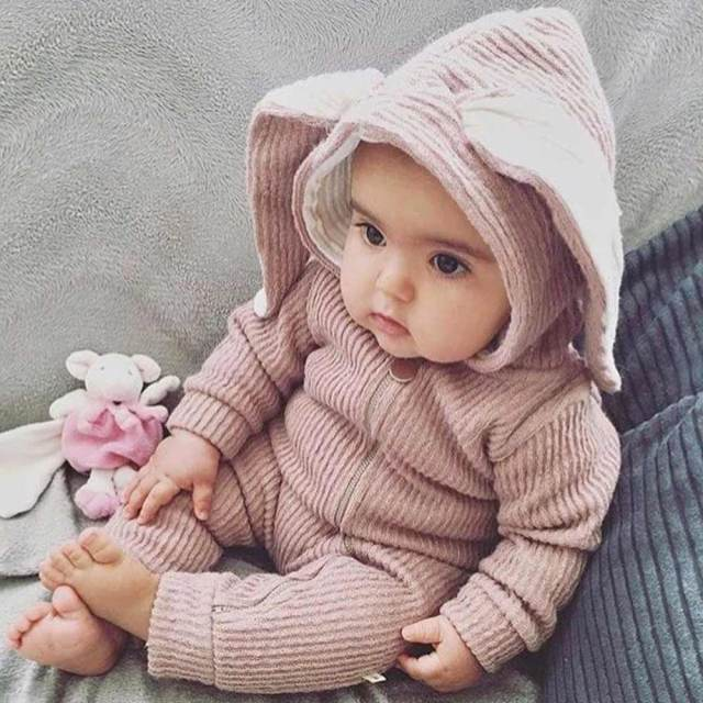 Cute baby rabbit romper newborn baby cartoon bunny ears cotton jumpsuit infant long sleeve warm outerwear