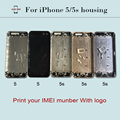 Back Housing Cover for iPhone 5 5S Middle Frame Housing+Side Button+Sim Card Tray Black/White/Gold/Silver/Grey can Custom IMEI