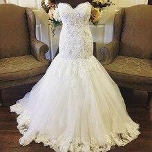 בציר בתוספת גודל בת ים חתונת שמלות מתוקה תחרה טול Appliqued שמלות כלה שמלות ללא שרוולים vestido דה novia