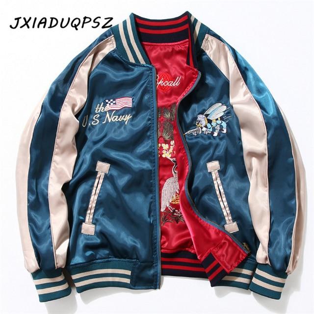 7b45b6bf22 US $41.21  Two Sides Luxury Embroidery Bomber Jacket ,Smooth Men Sukajan  Yokosuka Souvenir Jacket, Streetwear Hip Hop Baseball Jacket Brand-in  Jackets ...