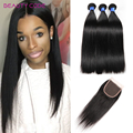 8A Grade Malaysian Straight Virgin Hair 3 Bundles With Closure Mink Human Hair With Closure Cheap Straight Hair With Closure