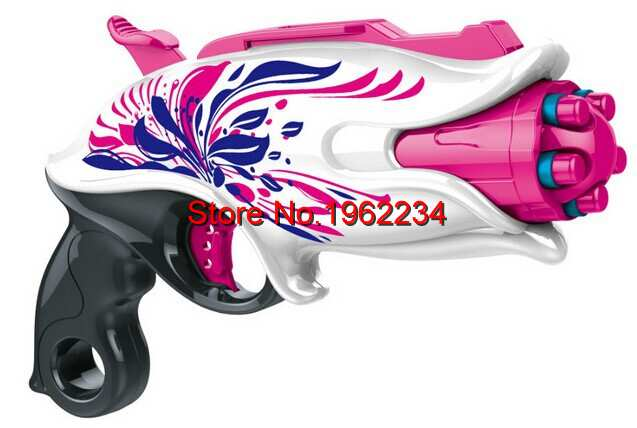 Soft Bullet Plastic Pink Angel Girls Gun Toys Outdoor Nerf Rebelle Pink Crush Blaster 29cm 5 bursts Sweet Revenge Dart Pistola