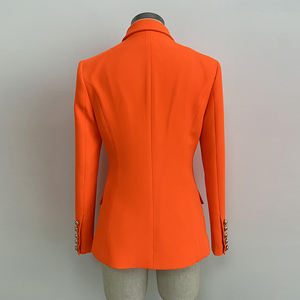 Image 3 - HIGH QUALITY Newest 2020 Designer Blazer Womens Lion Buttons Double Breasted Blazer Jacket Neon Orange