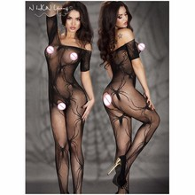 Sexy Lingerie Hot Erotic Fishnet Bodystocking Costumes For Women Open Crotch Catsuit Teddy Babydolls Underwear Bodysuits qq066(China)