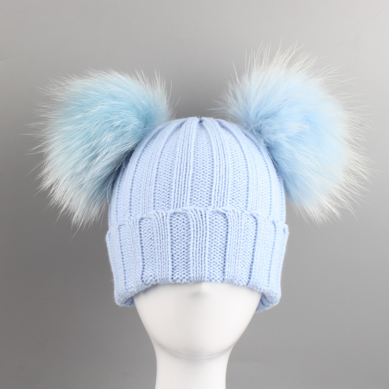 Baby Girls Boys Knit Pom Pom Hat Two Pompoms Children Fashion Caps Kids Pompom Girl Boy Double Raccoon Fur Beanie Hats 2-6Years new russia fur hat winter boy girl real rex rabbit fur hat children warm kids fur hat women ear bunny fur hat cap