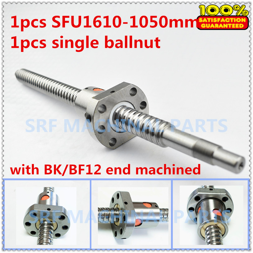 Ballscrew 1610 assembly 1pcs 16mm diameter L=1050mm-C7 Rolled Ball Screw with 1pcs single ball nut + end machining for CNC part cnc machining plunger piston pin part