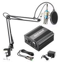 Neewer NW-800 конденсаторный микрофон комплект черный 48 В фантомный источник питания XLR кабель для домашней студии запись стрелы ножничный кронш...