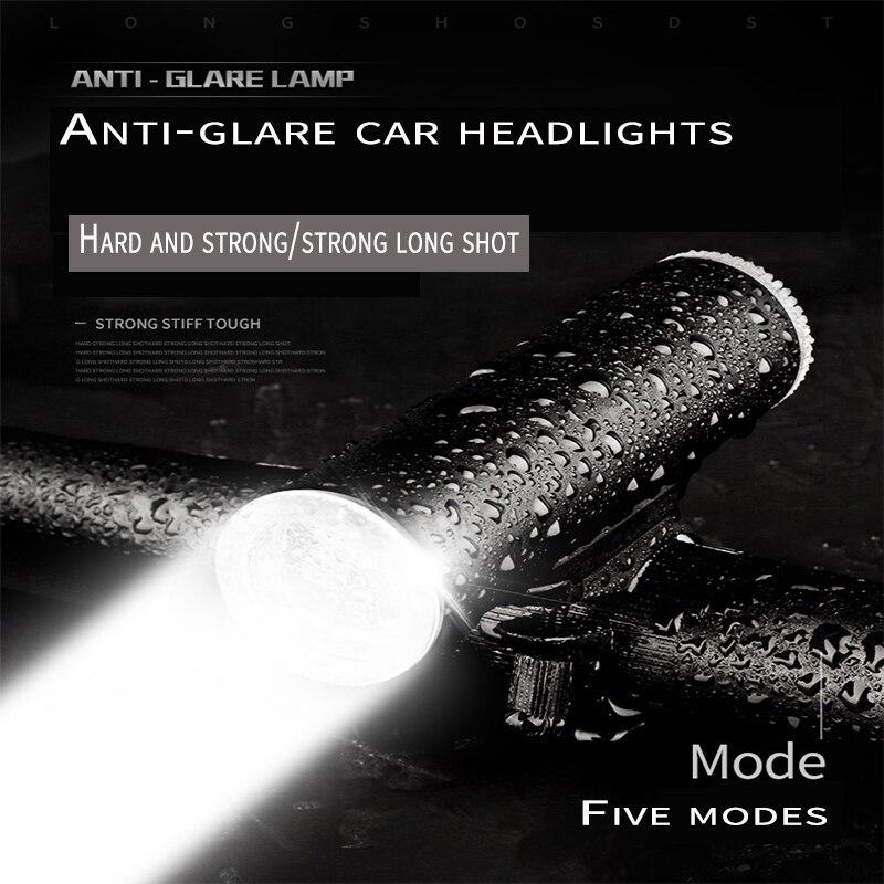 DEROACE Bicycle Light Handlebar Light Battery Aluminum alloy Carbon fiber 500 lumen For Bicycle T6 Lamp Beads Bike Lights Ce