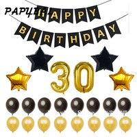 1 set buon compleanno banner numero 30 foil palloncini aerostati della stagnola festa di compleanno decorazione America 30th gigante 40 pollici 30 palloncini