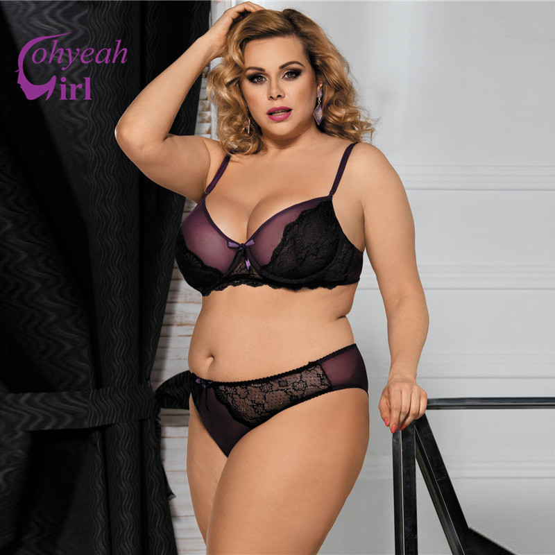 RW80273 Romantic Purple Lenceria Sexi Para Mujer Plus Size Transparent Lace Lingerie Set Erotic Night Wear Bra Sets With Panties