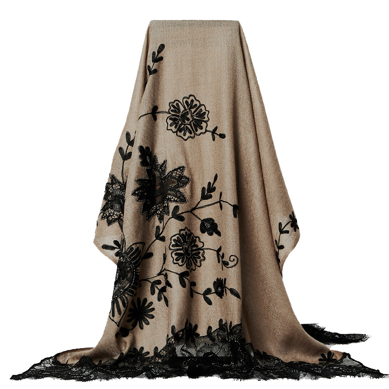 High Quality Handmade Embroidery Women Scarves Lace Shawl Wrap Tippet Wool Pashmina Shawls Floral Vintage Cachecol Feminino