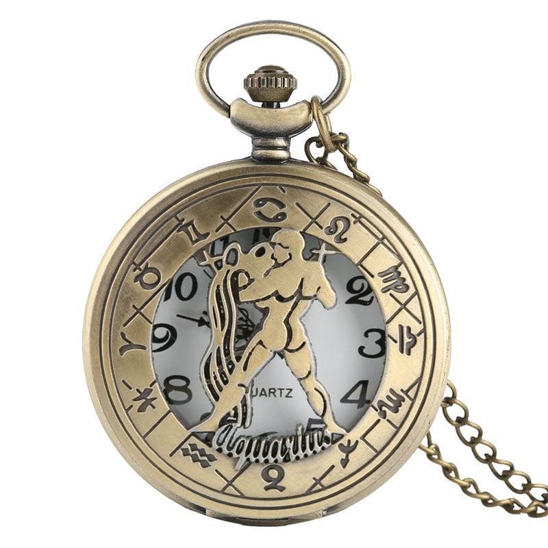 Fashion New 12 Constellation Aquarius Pocket Watch Retro Old American Flip Cover Children Students Hanging Pendant Quartz Watch