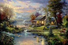 Cuadros decoration Fantasy Landscape oil painting autumn forest  lake  animals painting wall decor art printing for living room