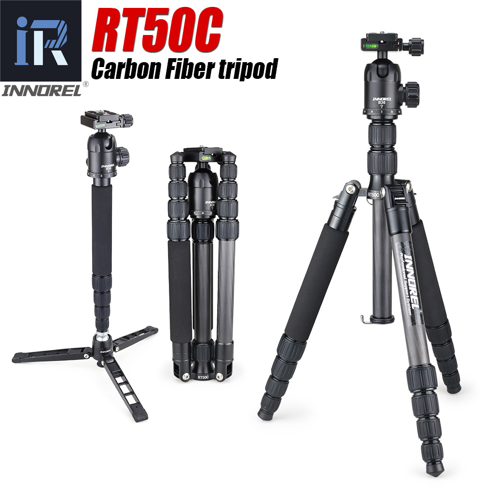 RT50C Portable Travel Professional Carbon fiber Tripod Monopod Panoramic Ball head for DSLR Digital camera lightweight compact-in Tripods from Consumer Electronics