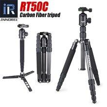 RT50C Portable Travel profesjonalny statyw z włókna węglowego Monopod z panoramiczną głowicą kulową na cyfrowy aparat fotograficzny dslr lekki kompaktowy