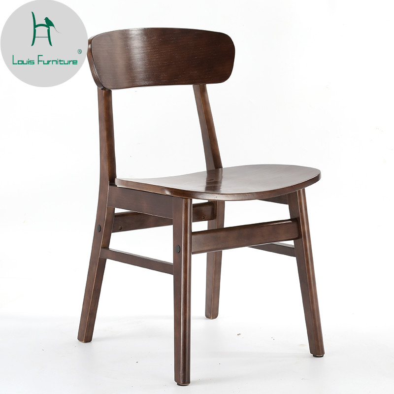 Louis Fashion Desk Chair Back Nordic Dining Adult Household Solid Wood Modern Simple Milk Tea Shop Coffee Table Butterfly