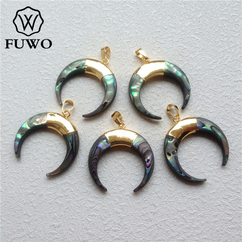 FUWO Carved Double Horn Abalone Shell Pendant With 24K Gold Filled Fashion Sea Shell Beach Paua