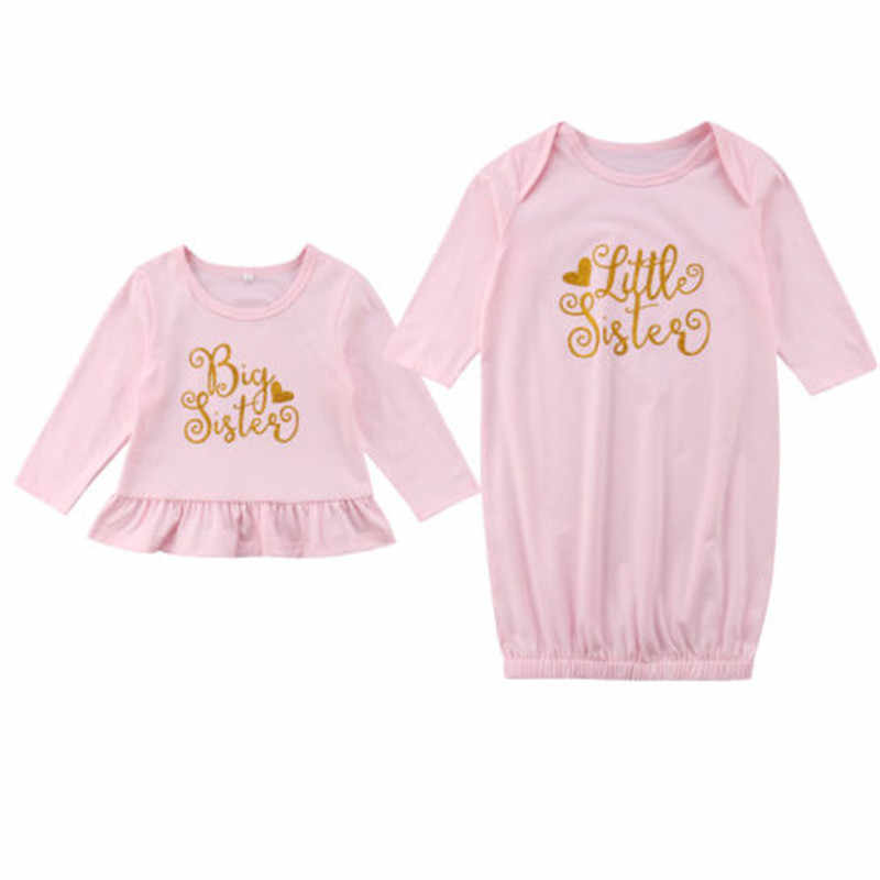 67dfb275 2018 New Family Matching Cotton Clothes Big Sister T-shirt Tee Little Sister  Romper Dress