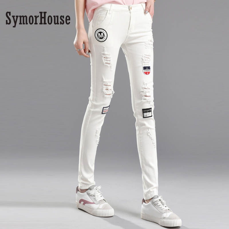 SymorHouse Fashion Ripped Jeans High Waist Skinny Jeans Embroidery Women Pants Trousers Sexy Hole Jeans Woman White Pencil Jeans symorhouse new fashion jeans women pencil pants high waist jeans sexy slim elastic skinny denim trousers fit lady plus size