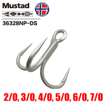 Mustad Norway Origin Fishing Hook Top Quality High Carbon Steel Treble Hook Barbed Hook,2/0 -7/0,36328NP-DS