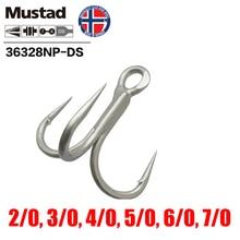 Mustad Norway Origin Fishing Hook Top Quality High Carbon Steel Treble Barbed Hook,2/0 -7/0,36328NP-DS