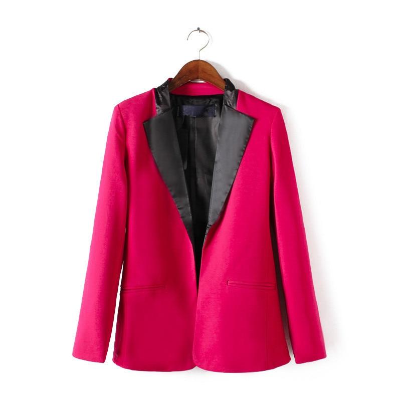 Clearance High Quality Slim Fashion Women Blazer Rose Red Color Autumn Suit Jacket Female Outerwear Autumn Coat Feminino D10661
