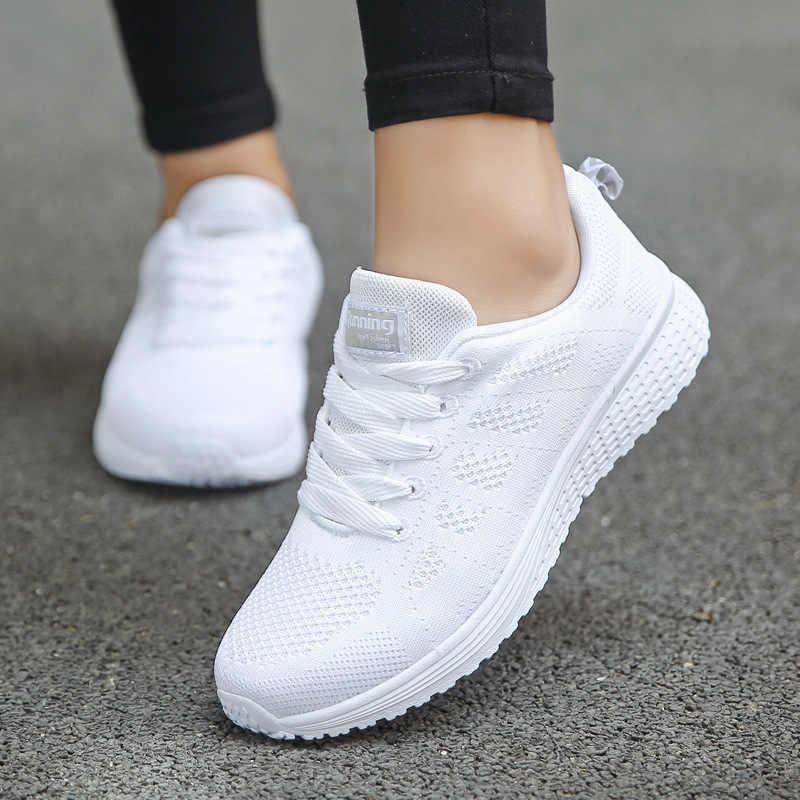 Kadın rahat ayakkabılar moda nefes yürüyüş örgü düz ayakkabı ayakkabı kadın 2020 spor vulkanize ayakkabı beyaz kadın ayakkabı