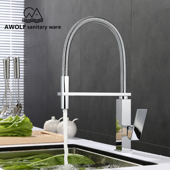 Chorme Kitchen Faucet Single Handle Pull Out Spring Kitchen Mixer Hot And Cold Water Tap Swivel Spout Vessel Sink Faucet SD1015 hot sale new pull out spring kitchen faucet chrome brass vessel sink mixer tap dual sprayer swivel spout hot and cold mixer tap