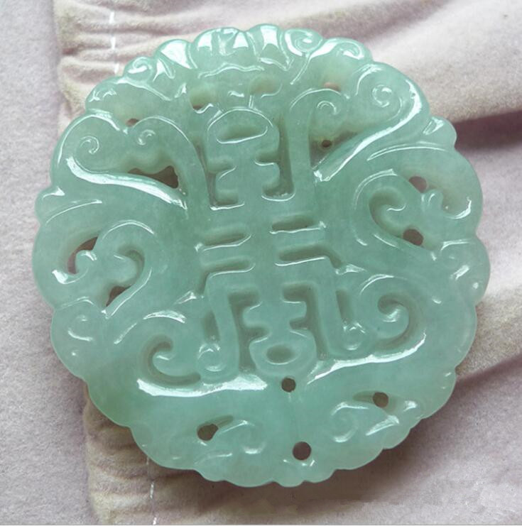 50*40*6mm Tjp Natural Myanmar Jadeite Jade Hollow Out Carve Brand Shuanglong Zhu Shou Yu Pei Jade Pendant Necklace Matching In Colour Jewelry & Accessories Pendants