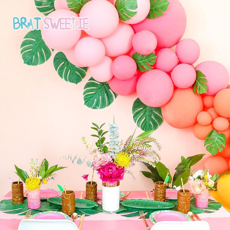 Summer Wedding Decoration Ideas: Artificial Plants Leaves Flamingo Cactus Balloons Luau