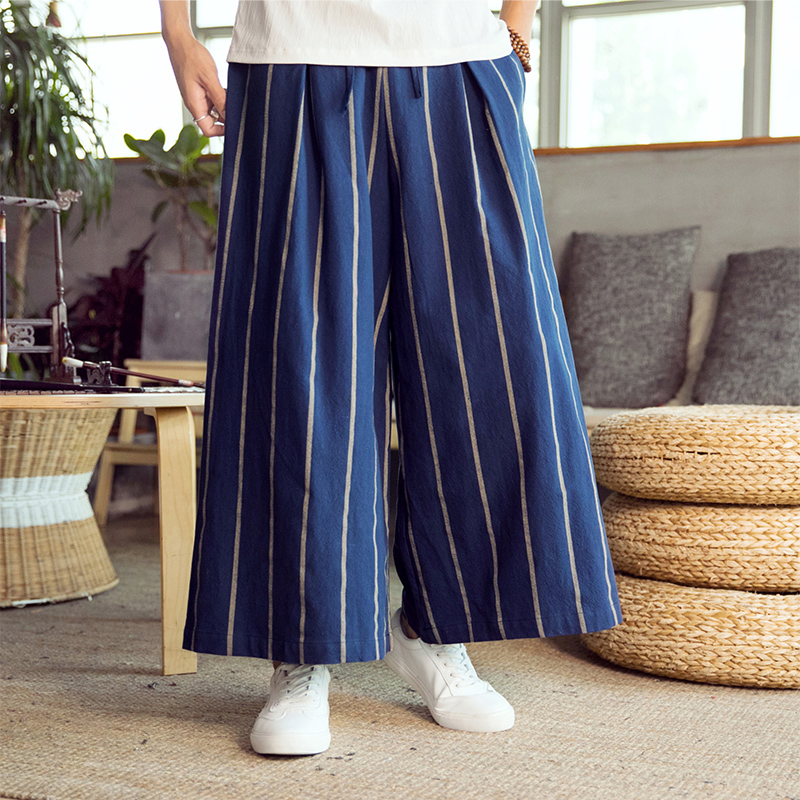 Male Streetwear Fashion Loose Harem Pant Men China Style Wide Leg Casual Linen Pant Kimono Stripe Skirt Trousers