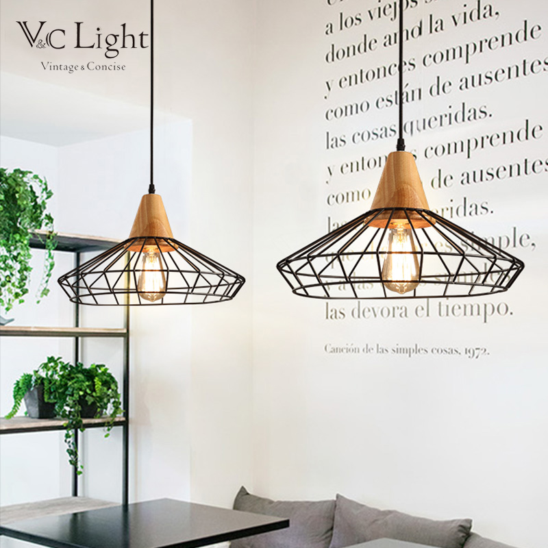 ФОТО Industrial Wood Pendant Lights Oak Wood Nordic Loft Retro Lamp Vintage Hanging Kitchen Light Bird Cage Lustre Luminaire LED Bulb