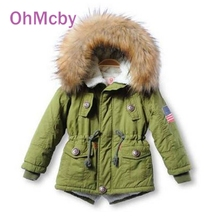 New Thicken Winter Children Jackets Girls Boys Casual Coat Hooded Faux Fur Collar Kids Outerwear Cotton Padded Girl Boy Snowsuit