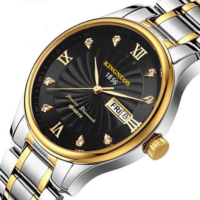 bd258263228 Ouro de Aço Inoxidável Relógio De Quartzo Homens Top Marca de Luxo Famoso  Ouro Hodinky Relógio