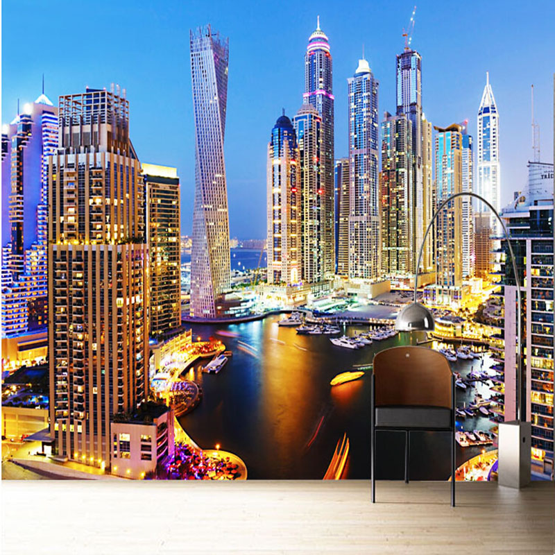 3d wallpaper beautiful dubai night landscape mural living
