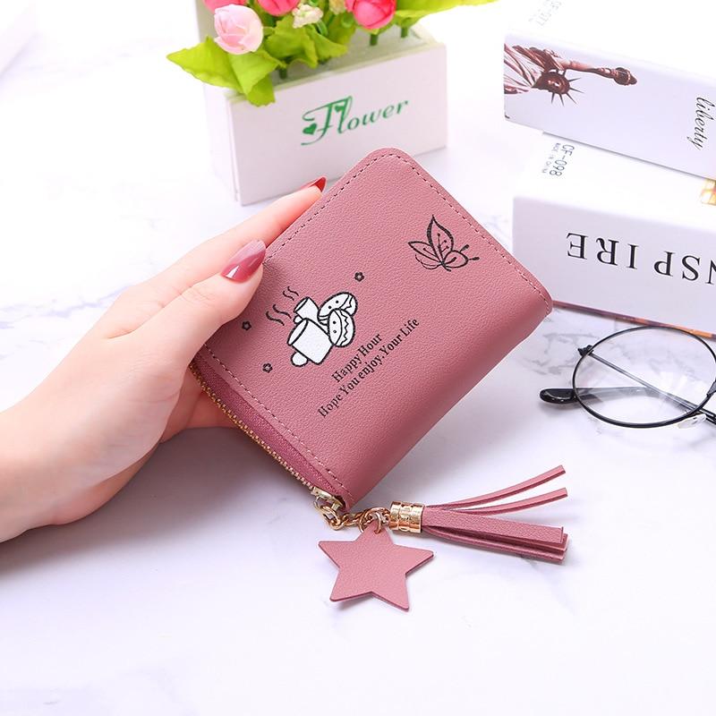 Women wallets Female student Arrival Short Wallets Zipper Purse Panelled Wallets Trendy Coin Purse Card Holder seal print 432