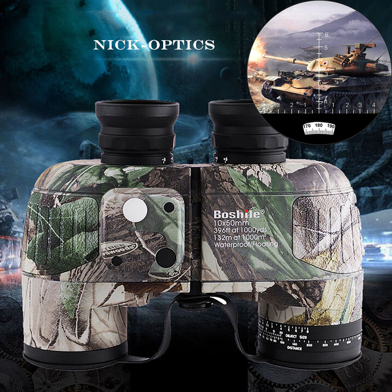 Boshile Binoculars 10x50 professional Military Marine binocular with Navigation Compass lll night vision telescope Eyepiece Zoom 10x50 outdoor military binocular army green marine prismatic binoculars hot sale