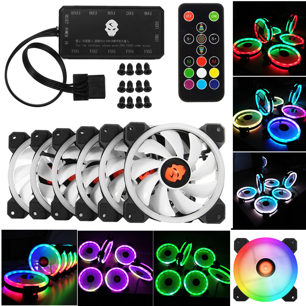 Computer Cooling Fan 6pcs 120mm PC Cooler Double Ring RGB LED Fan With Remote Control 366 Modes For CPU