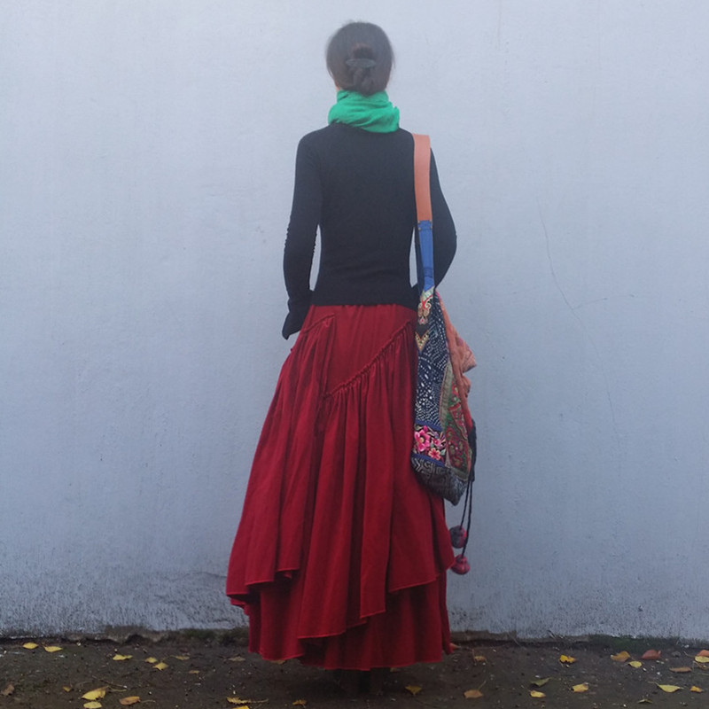 무료 배송 2019 새로운 패션 긴 맥시 a 라인 탄성 허리 여성 가을 겨울 코듀로이 플러스 크기 S 2XL 고품질 스커트-에서스커트부터 여성 의류 의  그룹 1