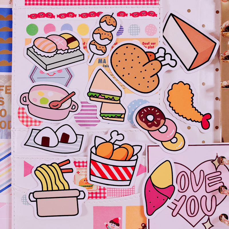 12Pcs/Packs Cartoon Food Pattern Oversized Sticker Hand Book Album Note Decoration Delicious Lunch Image DIY Waterproof