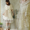 Forest Girl Style Ruffle Loose Plus Size Lace Patchwork Asymmetrical Dress Double Layer Mori Girl Kawaii Cute Vintage Dress V174