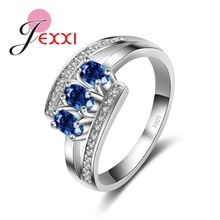 JEXXI Top Quality Blue and White Cubic Zircon Crystal Luxury Wedding Ring 925 Sterling Silver Fashion Jewelry Free Shipping