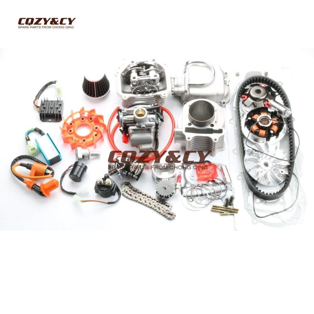 200cc EGR Big Bore Kit & 63mm Culasse et A14 CAM & 42mm filtre à air & 824 ceinture pour SCOOTERS ATV 150cc GY6 157QMJ MOTEUR