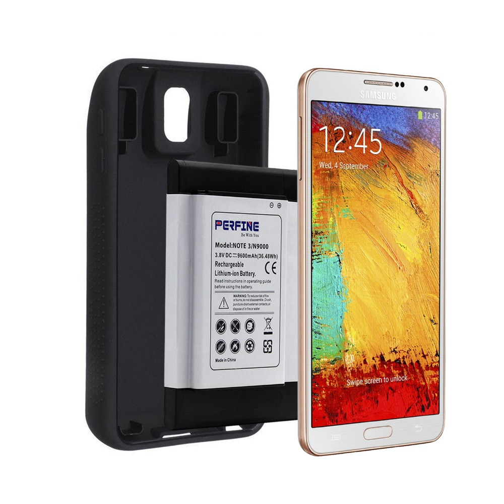 Note3 B800BE 9600mAh Battery For Samsung Galaxy Note 3 N9000 N9005 Mobile Phone NFC Business Extended Batteria+Protective Case