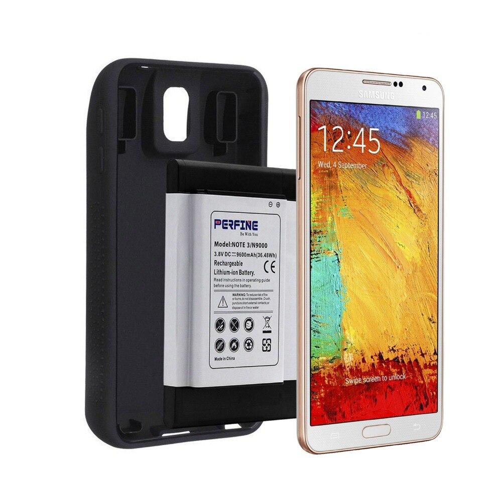 imágenes para Perfine 9600 mah amplió la batería para samsung galaxy note 3 n9000 teléfono celular nfc batería + full borde tpu funda protectora