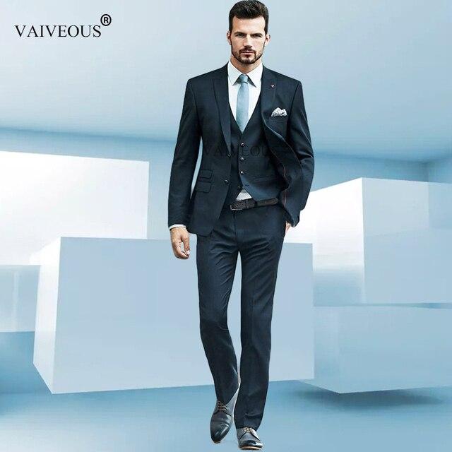76cfc3f59d7d8 Azul Marino slim fit hombres traje hombre chaleco Formal negocios mens traje  chaqueta trajes para hombre