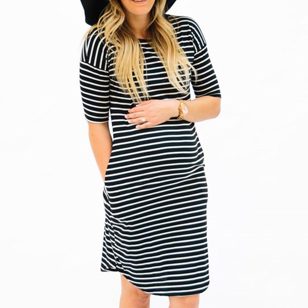 FEITONG Fashion Womens O-Neck Stripe Dress Short Sleeve Nursing Maternity Dress Loose Plus Size Maternity Knee-Length Dresses